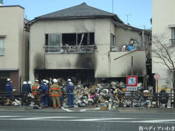 福島県いわき市平字正内町付近のゴミ屋敷で火事