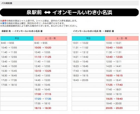 イオンモールいわき小名浜店からいわき駅・泉駅間の路線バスの時刻表 2018年6月
